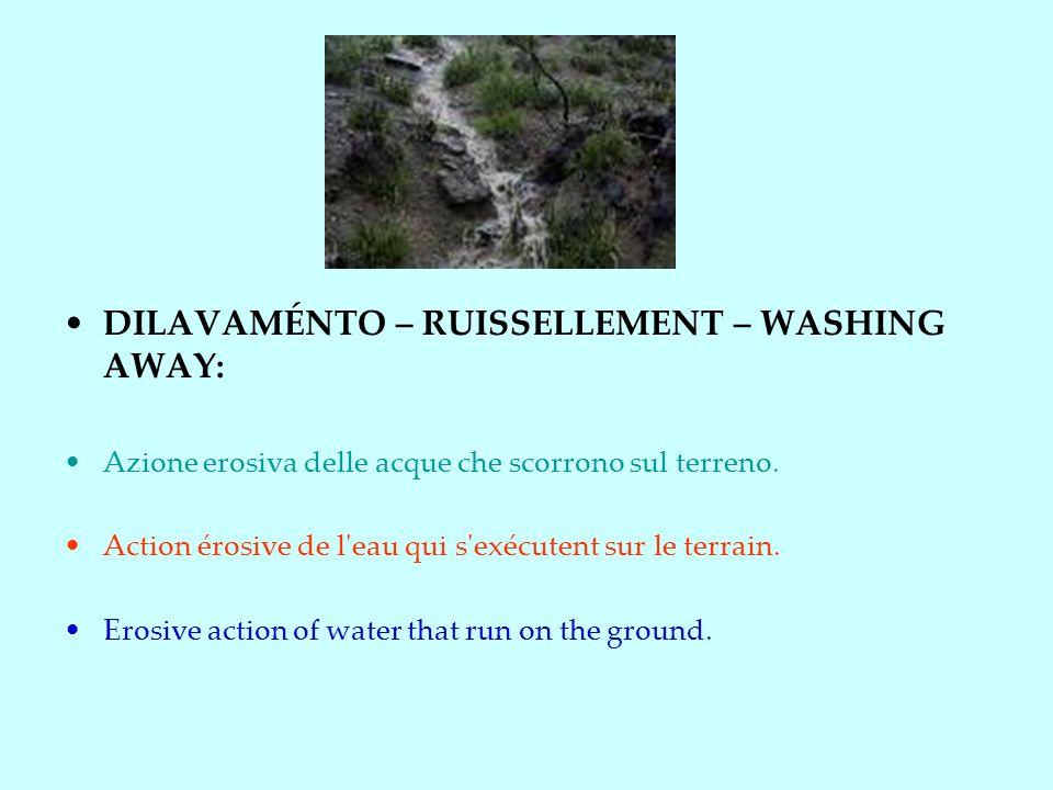 DILAVAMÉNTO – RUISSELLEMENT – WASHING AWAY: Azione erosiva delle acque che scorrono sul terreno.