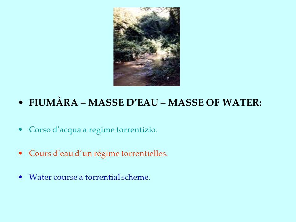 FIUMÀRA – MASSE DEAU – MASSE OF WATER: Corso d acqua a regime torrentizio.