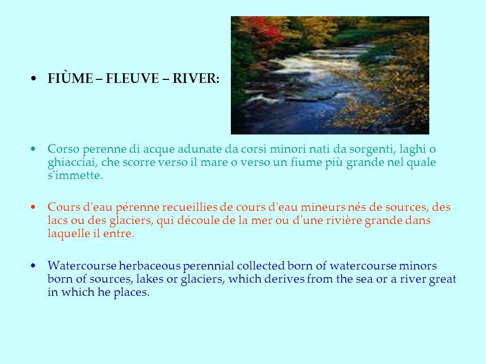 FIÙME – FLEUVE – RIVER: Corso perenne di acque adunate da corsi minori nati da sorgenti, laghi o ghiacciai, che scorre verso il mare o verso un fiume più grande nel quale s immette.