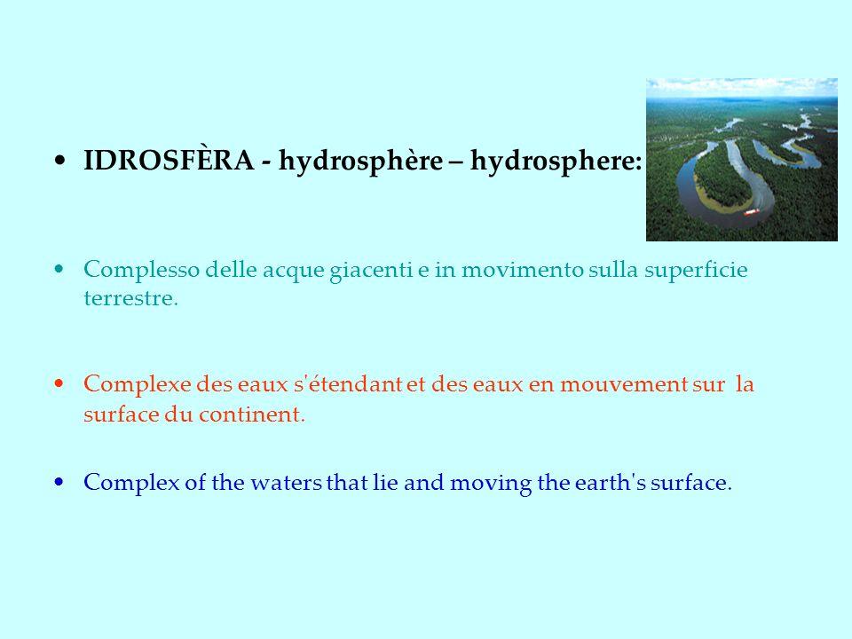 IDROSFÈRA - hydrosphère – hydrosphere: Complesso delle acque giacenti e in movimento sulla superficie terrestre.