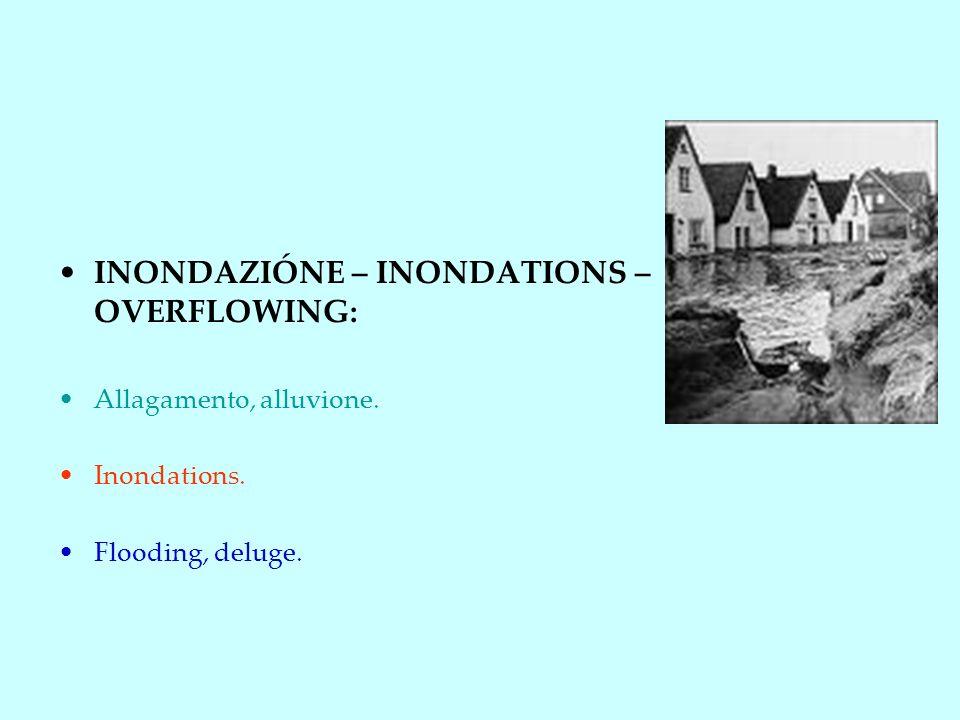 INONDAZIÓNE – INONDATIONS – OVERFLOWING: Allagamento, alluvione. Inondations. Flooding, deluge.