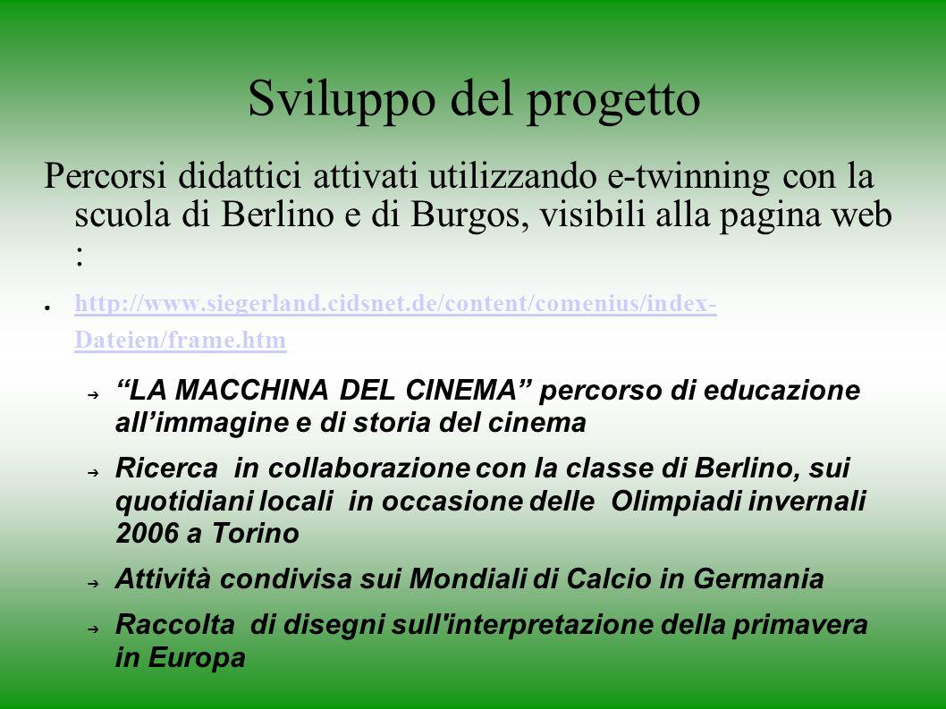 Sviluppo del progetto Percorsi didattici attivati utilizzando e-twinning con la scuola di Berlino e di Burgos, visibili alla pagina web : http://www.siegerland.cidsnet.de/content/comenius/index- Dateien/frame.htm http://www.siegerland.cidsnet.de/content/comenius/index- Dateien/frame.htm LA MACCHINA DEL CINEMA percorso di educazione allimmagine e di storia del cinema Ricerca in collaborazione con la classe di Berlino, sui quotidiani locali in occasione delle Olimpiadi invernali 2006 a Torino Attività condivisa sui Mondiali di Calcio in Germania Raccolta di disegni sull interpretazione della primavera in Europa