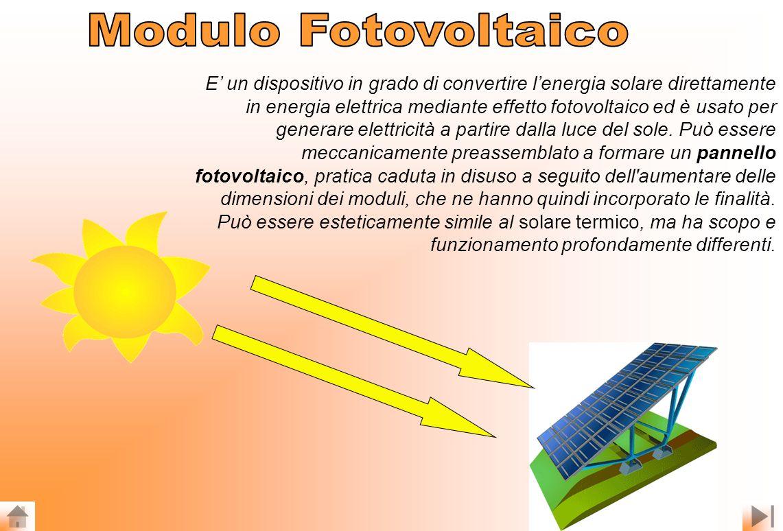 E un dispositivo in grado di convertire lenergia solare direttamente in energia elettrica mediante effetto fotovoltaico ed è usato per generare elettricità a partire dalla luce del sole.