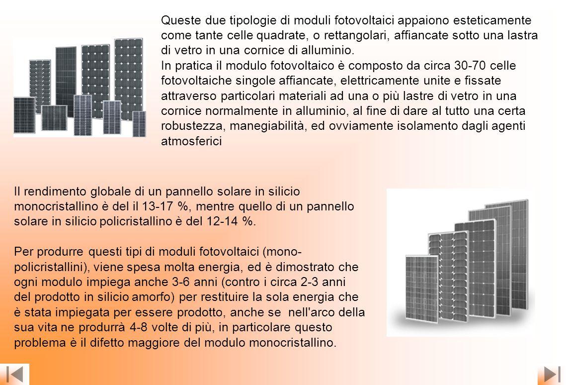 Queste due tipologie di moduli fotovoltaici appaiono esteticamente come tante celle quadrate, o rettangolari, affiancate sotto una lastra di vetro in una cornice di alluminio.