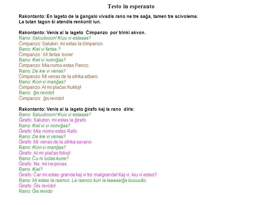 Testo in esperanto Rakontanto: En lageto de la ĝangalo vivadis rano ne tre saĝa, tamen tre scivolema.