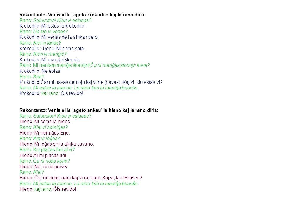 Testo in esper anto 4 Rakontanto: Venis al la lageto krokodilo kaj la rano diris: Rano: Saluuuton.