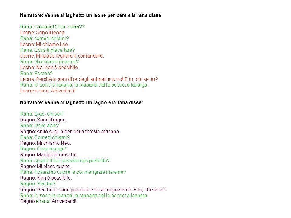 Testo in italiano 3 Narratore: Venne al laghetto un leone per bere e la rana disse: Rana: Ciaaaao.