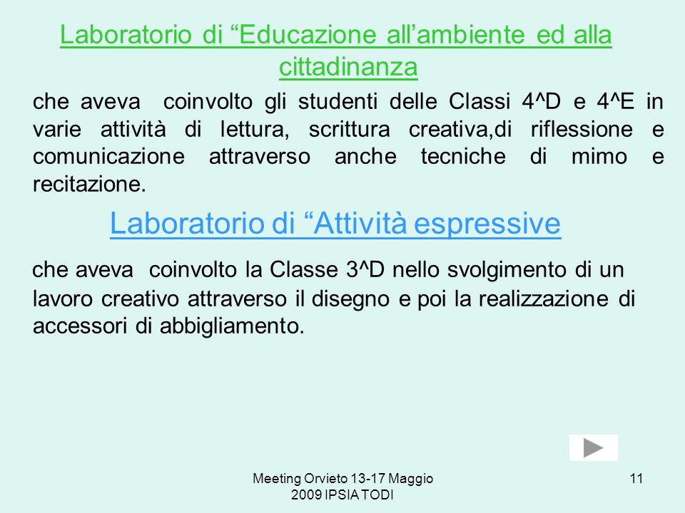 Meeting Orvieto 13-17 Maggio 2009 IPSIA TODI 11 Laboratorio di Educazione allambiente ed alla cittadinanza che aveva coinvolto gli studenti delle Clas