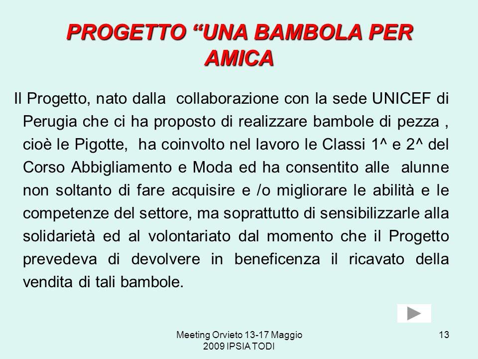 Meeting Orvieto 13-17 Maggio 2009 IPSIA TODI 13 PROGETTO UNA BAMBOLA PER AMICA Il Progetto, nato dalla collaborazione con la sede UNICEF di Perugia ch