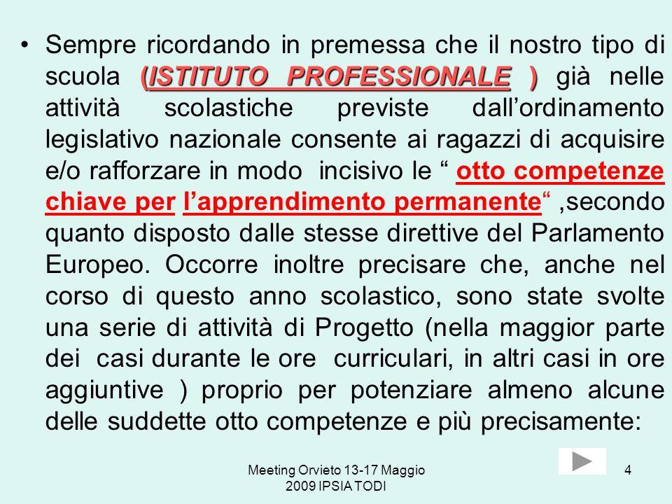 Meeting Orvieto 13-17 Maggio 2009 IPSIA TODI 4 (ISTITUTO PROFESSIONALE )Sempre ricordando in premessa che il nostro tipo di scuola (ISTITUTO PROFESSIO