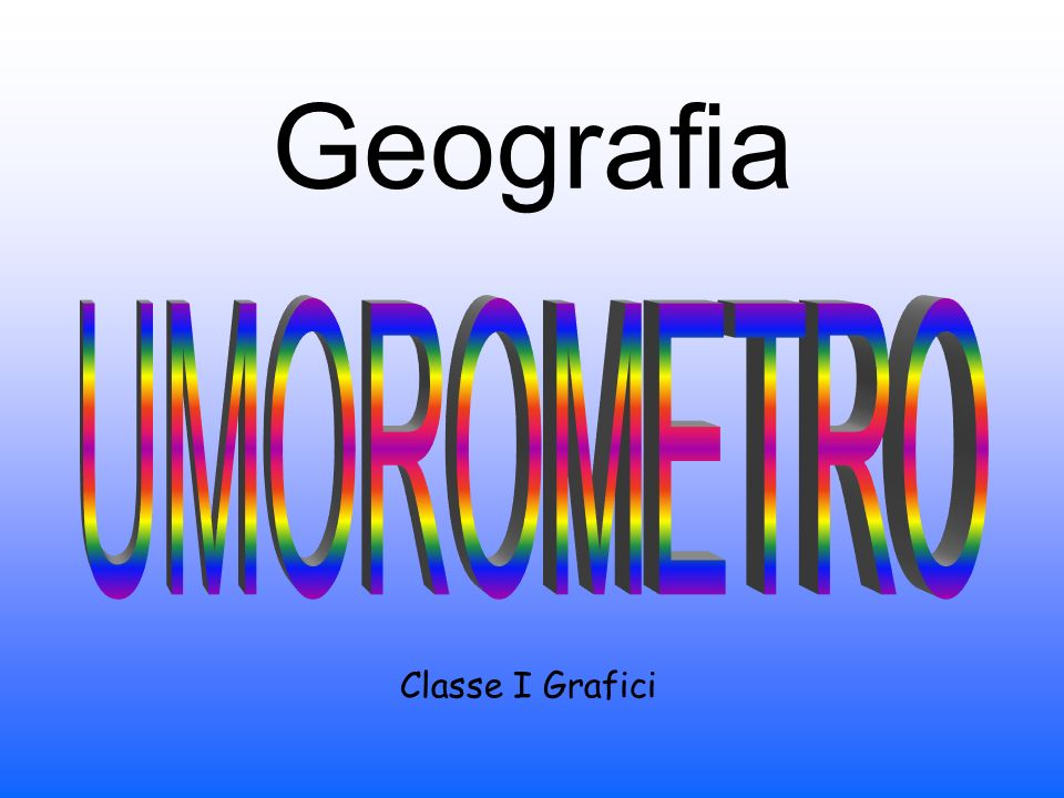 Geografia Classe I Grafici