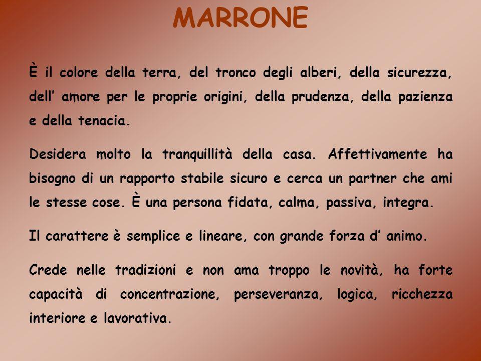 MARRONE È il colore della terra, del tronco degli alberi, della sicurezza, dell amore per le proprie origini, della prudenza, della pazienza e della t