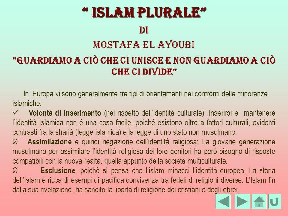 Islam Plurale Islam Plurale Di Mostafa El Ayoubi Guardiamo a ciò che ci unisce e non guardiamo a ciò che ci divide In Europa vi sono generalmente tre