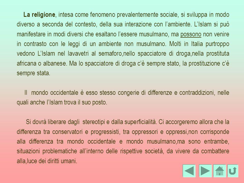 La religione, intesa come fenomeno prevalentemente sociale, si sviluppa in modo diverso a seconda del contesto, della sua interazione con lambiente. L