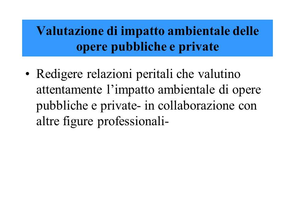 Valutazione di impatto ambientale delle opere pubbliche e private Redigere relazioni peritali che valutino attentamente limpatto ambientale di opere p