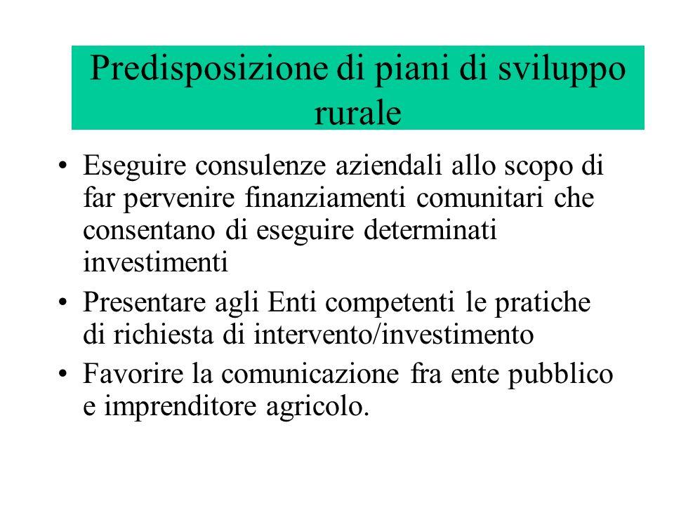 Predisposizione di piani di sviluppo rurale Eseguire consulenze aziendali allo scopo di far pervenire finanziamenti comunitari che consentano di esegu
