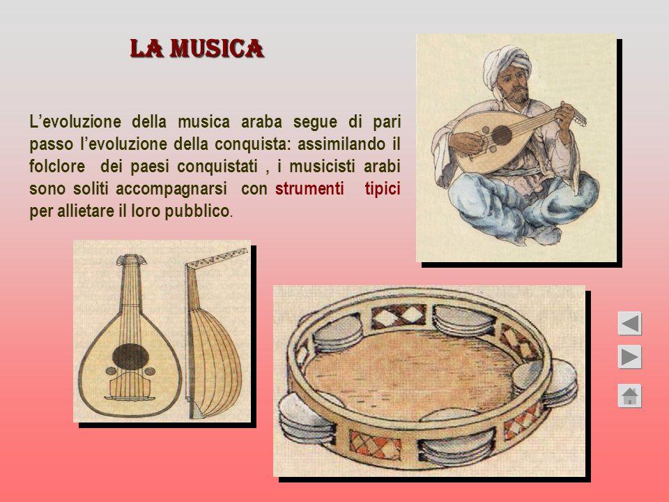 LA MUSICA Levoluzione della musica araba segue di pari passo levoluzione della conquista: assimilando il folclore dei paesi conquistati, i musicisti a