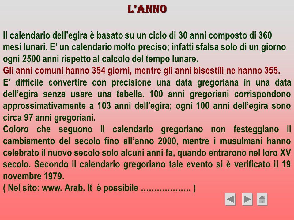 LANNO Il calendario dellegira è basato su un ciclo di 30 anni composto di 360 mesi lunari. E un calendario molto preciso; infatti sfalsa solo di un gi
