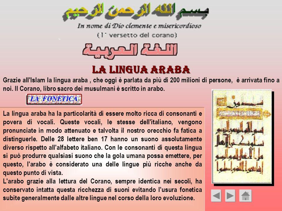 LA LINGUA ARABA Grazie all'Islam la lingua araba, che oggi è parlata da più di 200 milioni di persone, è arrivata fino a noi. Il Corano, libro sacro d