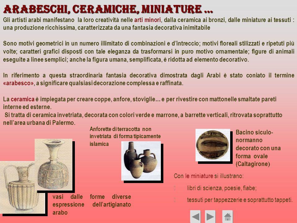 Arabeschi, ceramiche, miniature … Gli artisti arabi manifestano la loro creatività nelle arti minori, dalla ceramica ai bronzi, dalle miniature ai tes