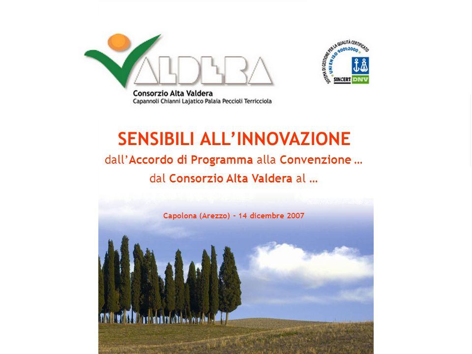 1 S E N S I B I L I A L L I N N O V A Z I O N E dallAccordo di Programma alla Convenzione … dal Consorzio Alta Valdera al … Capolona (Arezzo) - 14 dicembre 2007