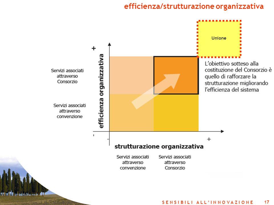 17 S E N S I B I L I A L L I N N O V A Z I O N E efficienza/strutturazione organizzativa Unione