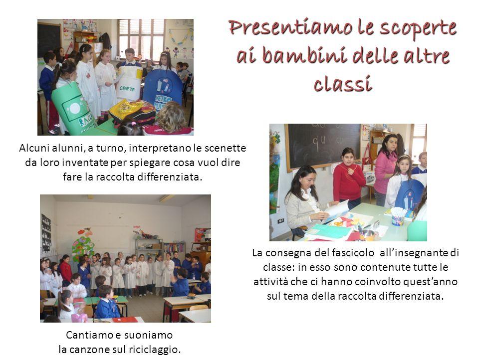 Presentiamo le scoperte ai bambini delle altre classi La consegna del fascicolo allinsegnante di classe: in esso sono contenute tutte le attività che