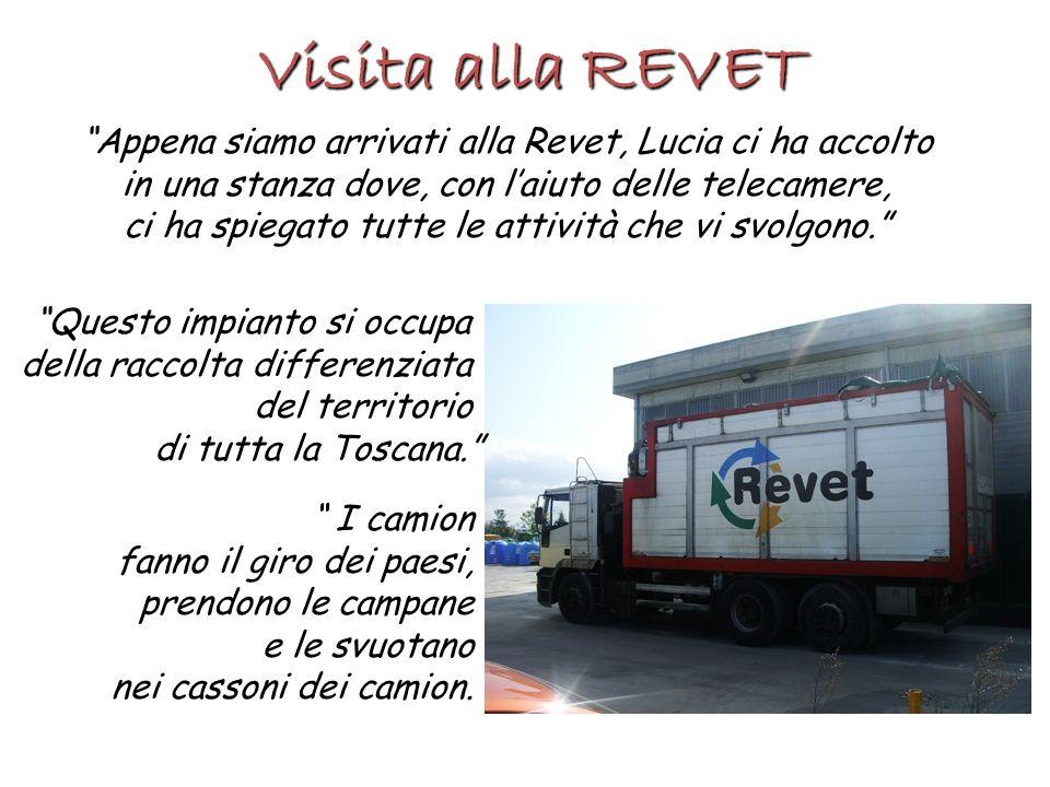 Visita alla REVET Appena siamo arrivati alla Revet, Lucia ci ha accolto in una stanza dove, con laiuto delle telecamere, ci ha spiegato tutte le attiv