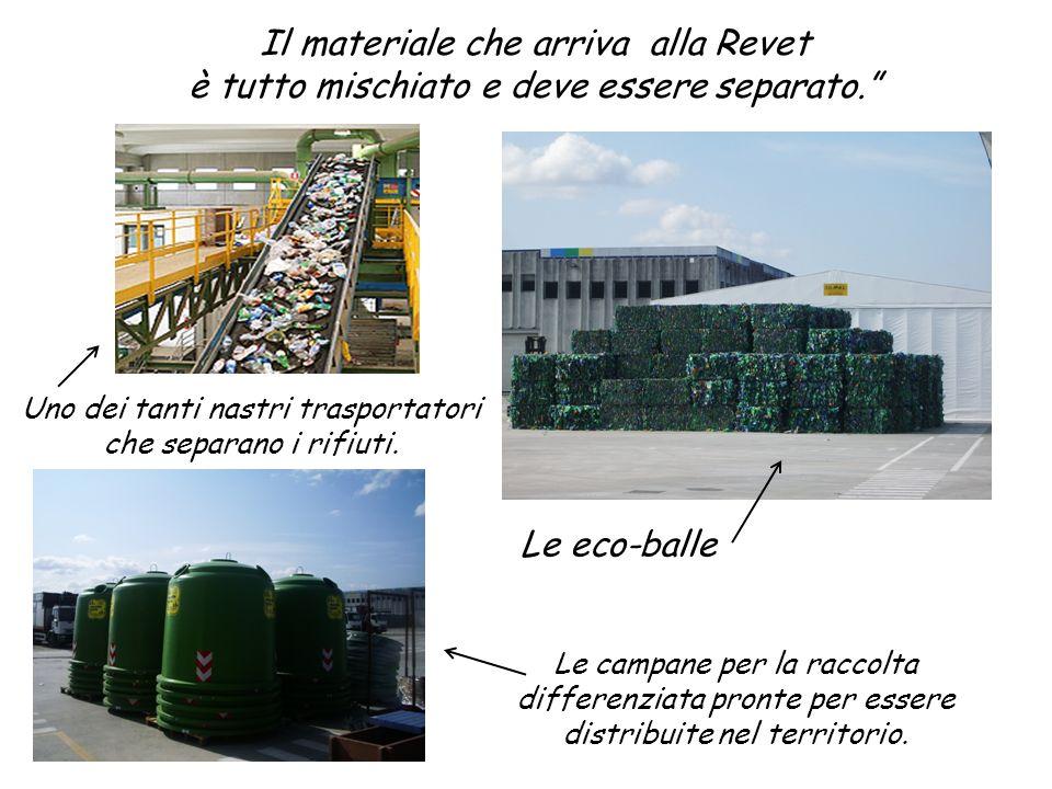 Il materiale che arriva alla Revet è tutto mischiato e deve essere separato. Le eco-balle Le campane per la raccolta differenziata pronte per essere d