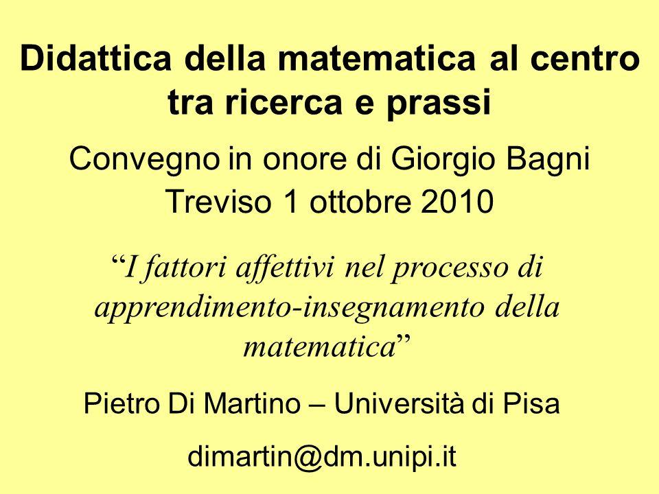 Incrociando Giorgio… Una matematica senza emozioni Una matematica senza scopi