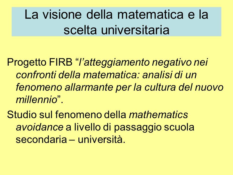 La visione della matematica e la scelta universitaria Progetto FIRB latteggiamento negativo nei confronti della matematica: analisi di un fenomeno allarmante per la cultura del nuovo millennio.