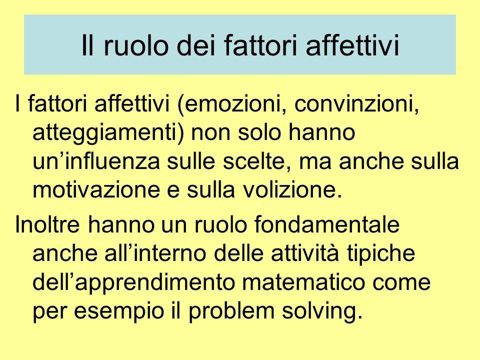 Il ruolo dei fattori affettivi I fattori affettivi (emozioni, convinzioni, atteggiamenti) non solo hanno uninfluenza sulle scelte, ma anche sulla motivazione e sulla volizione.