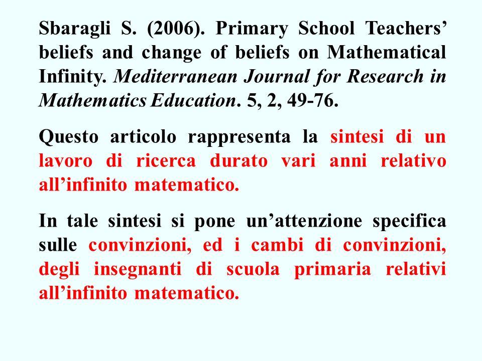 Sbaragli S.(2006). Primary School Teachers beliefs and change of beliefs on Mathematical Infinity.