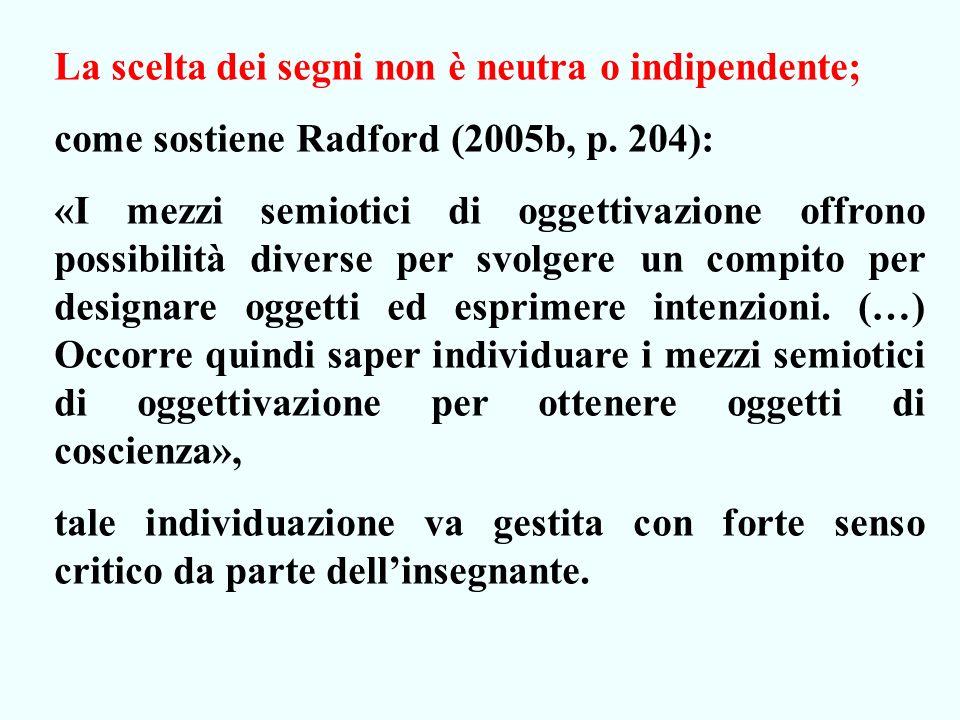 La scelta dei segni non è neutra o indipendente; come sostiene Radford (2005b, p.