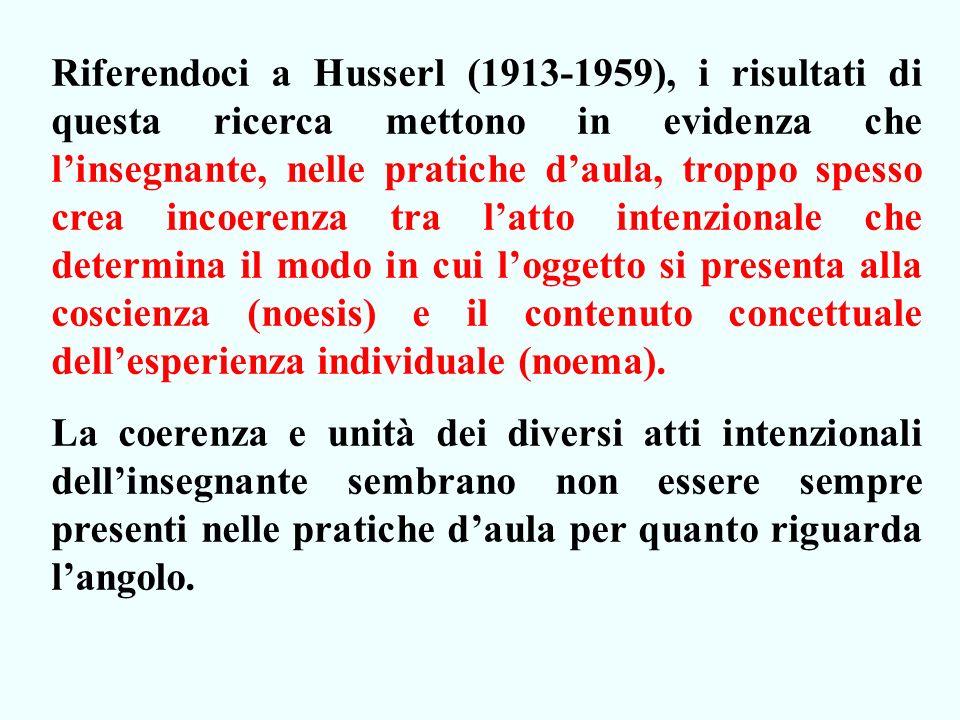 Riferendoci a Husserl (1913-1959), i risultati di questa ricerca mettono in evidenza che linsegnante, nelle pratiche daula, troppo spesso crea incoerenza tra latto intenzionale che determina il modo in cui loggetto si presenta alla coscienza (noesis) e il contenuto concettuale dellesperienza individuale (noema).