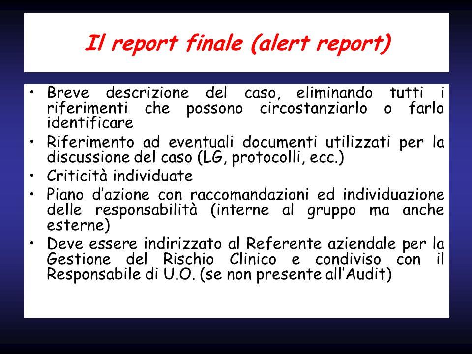 Il report finale (alert report) Breve descrizione del caso, eliminando tutti i riferimenti che possono circostanziarlo o farlo identificare Riferiment