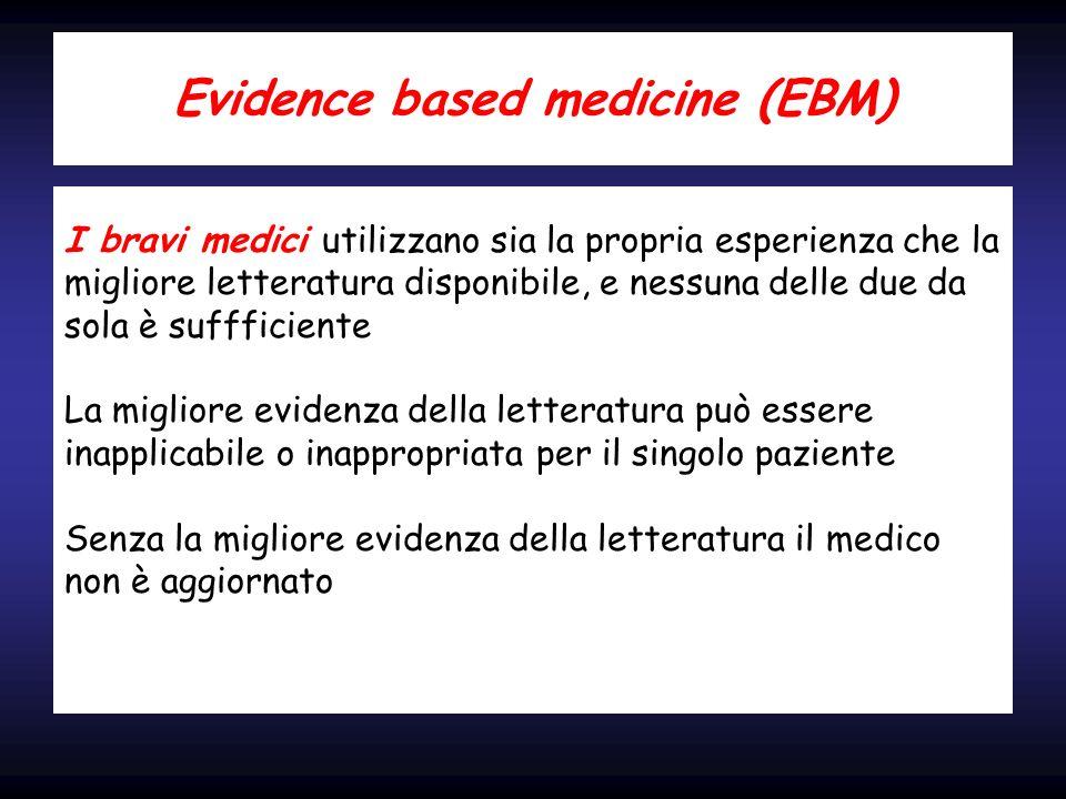 Evidence based medicine (EBM) I bravi medici utilizzano sia la propria esperienza che la migliore letteratura disponibile, e nessuna delle due da sola