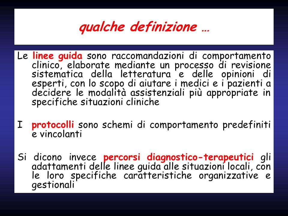 qualche definizione … Le linee guida sono raccomandazioni di comportamento clinico, elaborate mediante un processo di revisione sistematica della lett