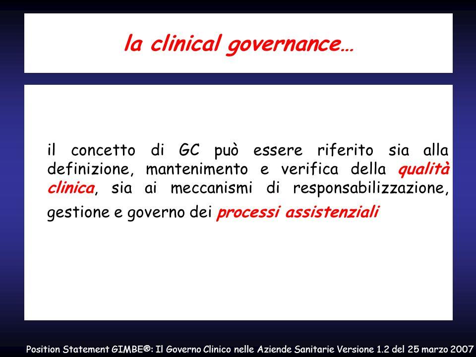 la clinical governance… il concetto di GC può essere riferito sia alla definizione, mantenimento e verifica della qualità clinica, sia ai meccanismi d