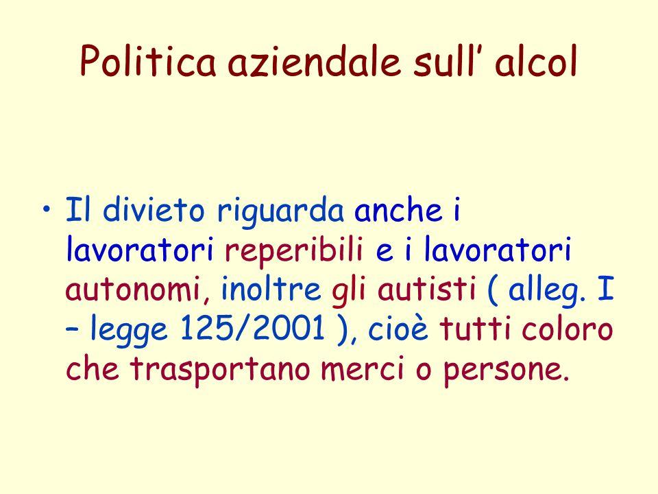 Politica aziendale sull alcol Il divieto riguarda anche i lavoratori reperibili e i lavoratori autonomi, inoltre gli autisti ( alleg. I – legge 125/20