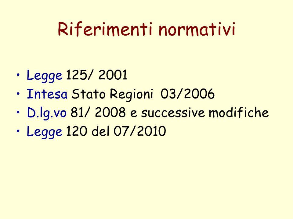 Riferimenti normativi Legge 125/ 2001 Intesa Stato Regioni 03/2006 D.lg.vo 81/ 2008 e successive modifiche Legge 120 del 07/2010