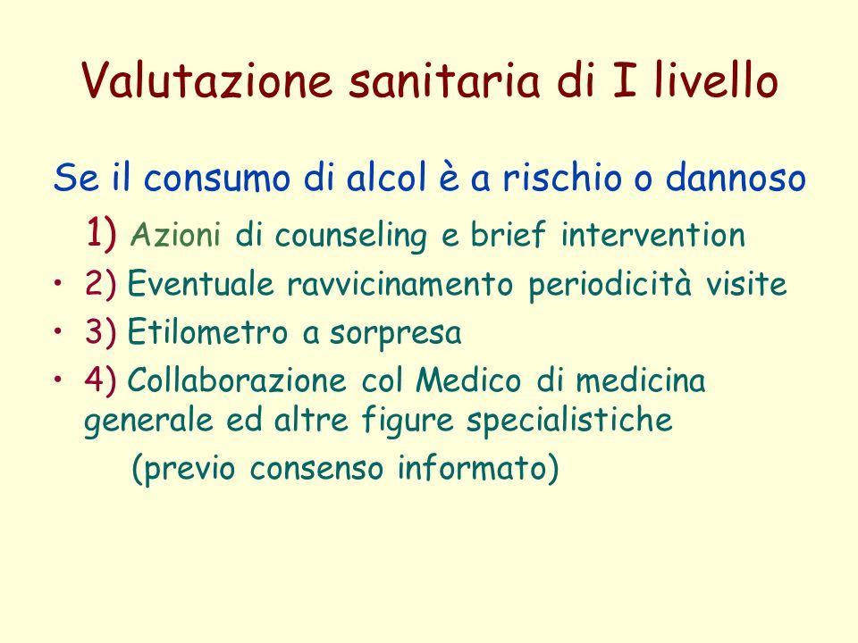 Valutazione sanitaria di I livello Se il consumo di alcol è a rischio o dannoso 1) Azioni di counseling e brief intervention 2) Eventuale ravvicinamen