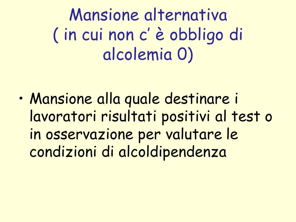 Mansione alternativa ( in cui non c è obbligo di alcolemia 0) Mansione alla quale destinare i lavoratori risultati positivi al test o in osservazione per valutare le condizioni di alcoldipendenza
