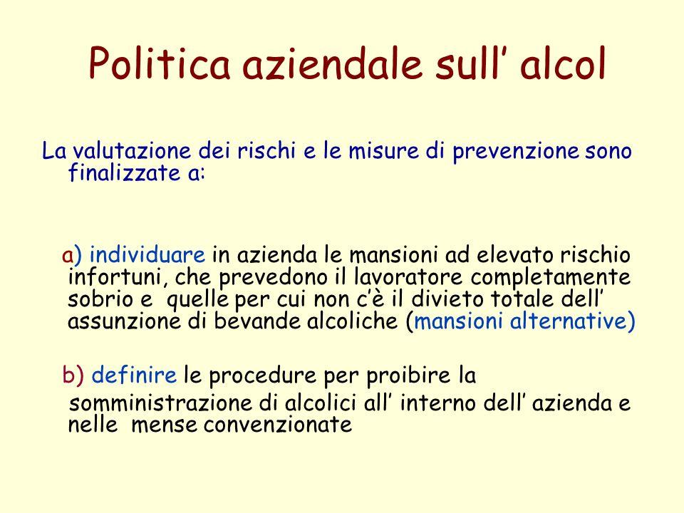 Politica aziendale sull alcol La valutazione dei rischi e le misure di prevenzione sono finalizzate a: a) individuare in azienda le mansioni ad elevat