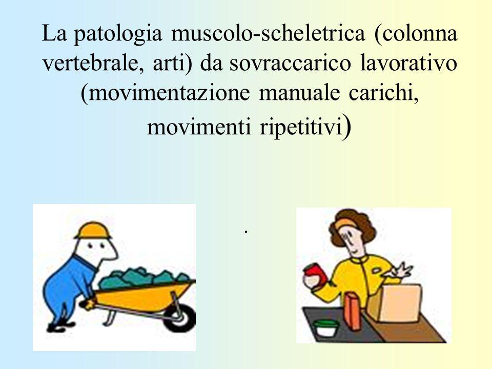 La patologia muscolo-scheletrica (colonna vertebrale, arti) da sovraccarico lavorativo (movimentazione manuale carichi, movimenti ripetitivi ).