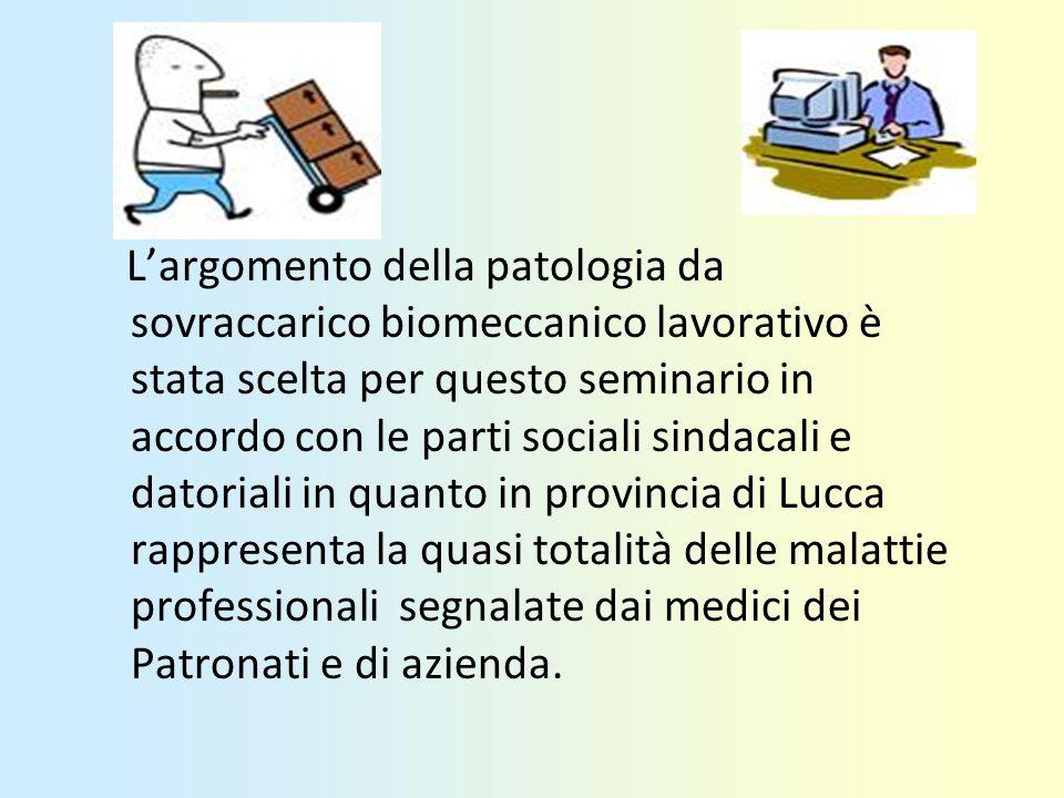 Largomento della patologia da sovraccarico biomeccanico lavorativo è stata scelta per questo seminario in accordo con le parti sociali sindacali e dat