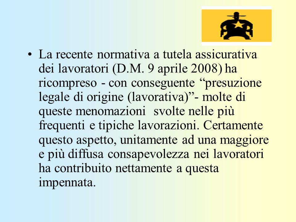 La recente normativa a tutela assicurativa dei lavoratori (D.M. 9 aprile 2008) ha ricompreso - con conseguente presuzione legale di origine (lavorativ