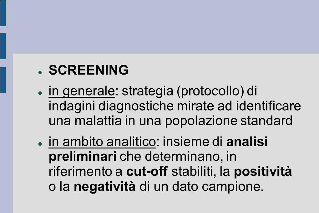 SCREENING in generale: strategia (protocollo) di indagini diagnostiche mirate ad identificare una malattia in una popolazione standard in ambito anali