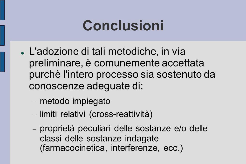 Conclusioni L'adozione di tali metodiche, in via preliminare, è comunemente accettata purchè l'intero processo sia sostenuto da conoscenze adeguate di