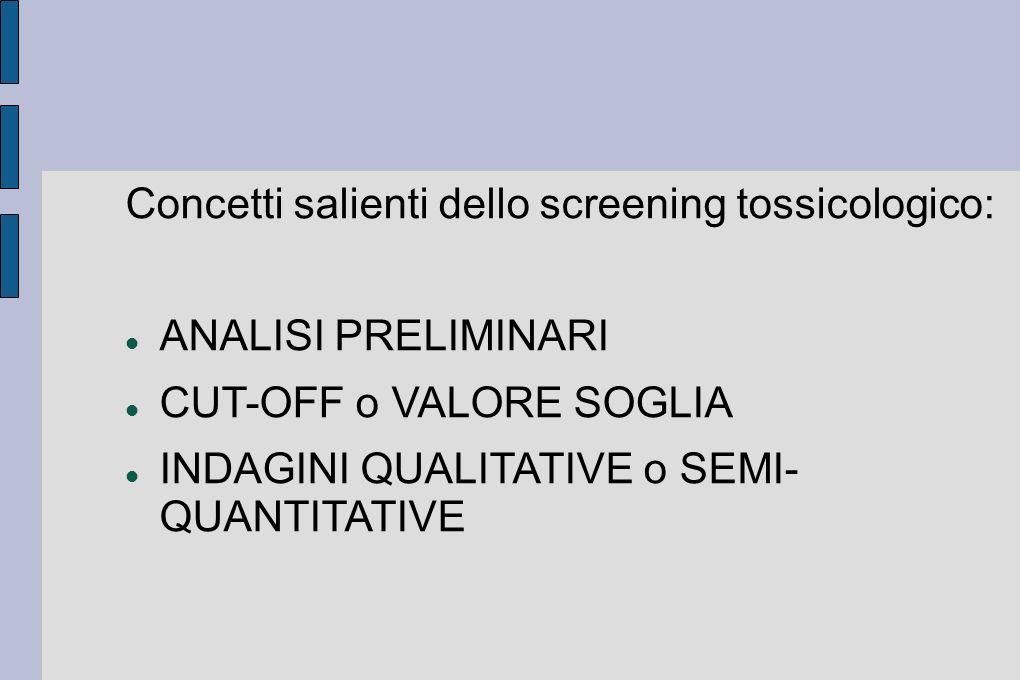 Concetti salienti dello screening tossicologico: ANALISI PRELIMINARI CUT-OFF o VALORE SOGLIA INDAGINI QUALITATIVE o SEMI- QUANTITATIVE
